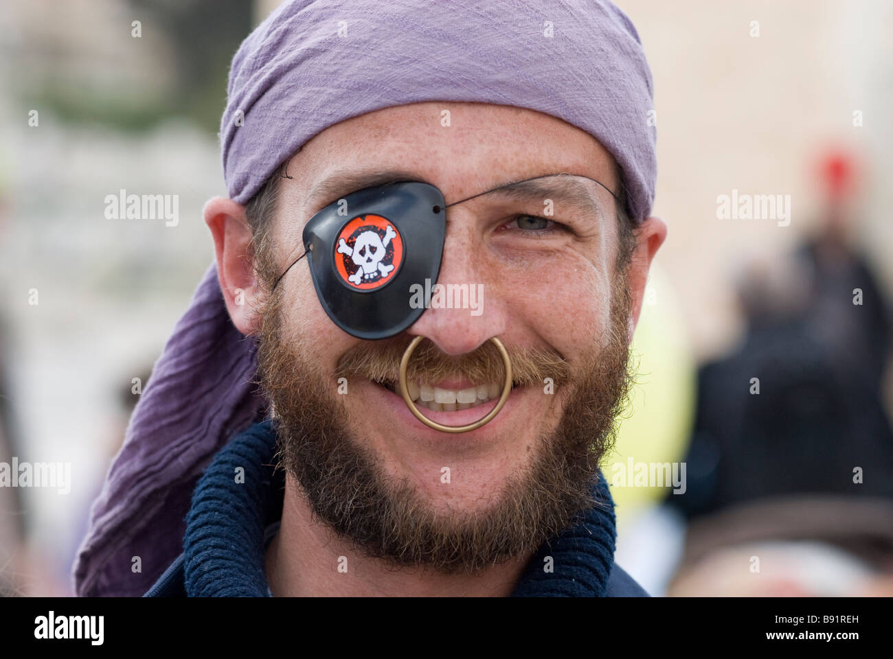 Jewish settler at the annual parade marking the Jewish holiday of Purim in the old city of Hebron Israel - Stock Image