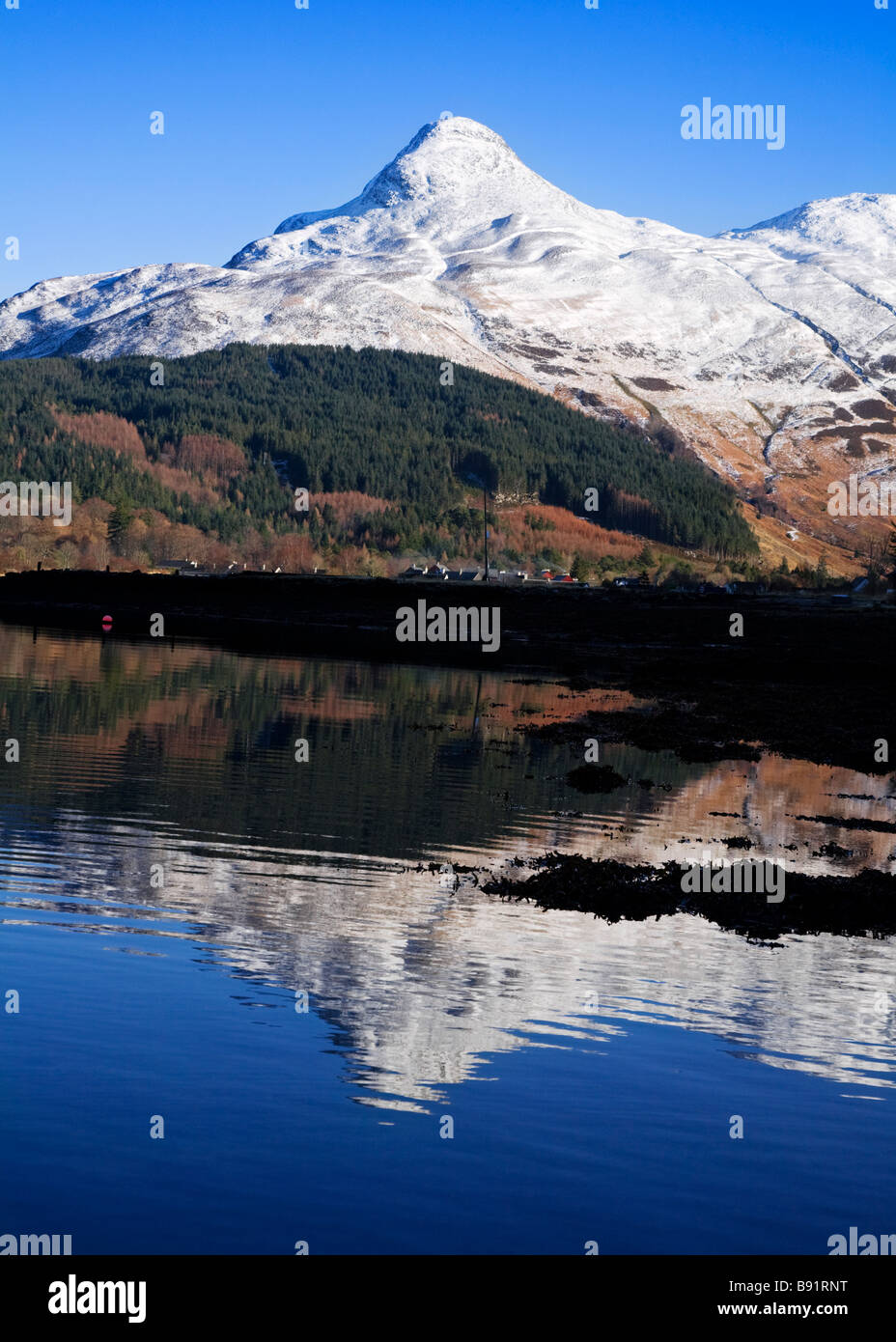A snow capped pap of Glencoe and loch Leven, Lochaber, Scotland. - Stock Image