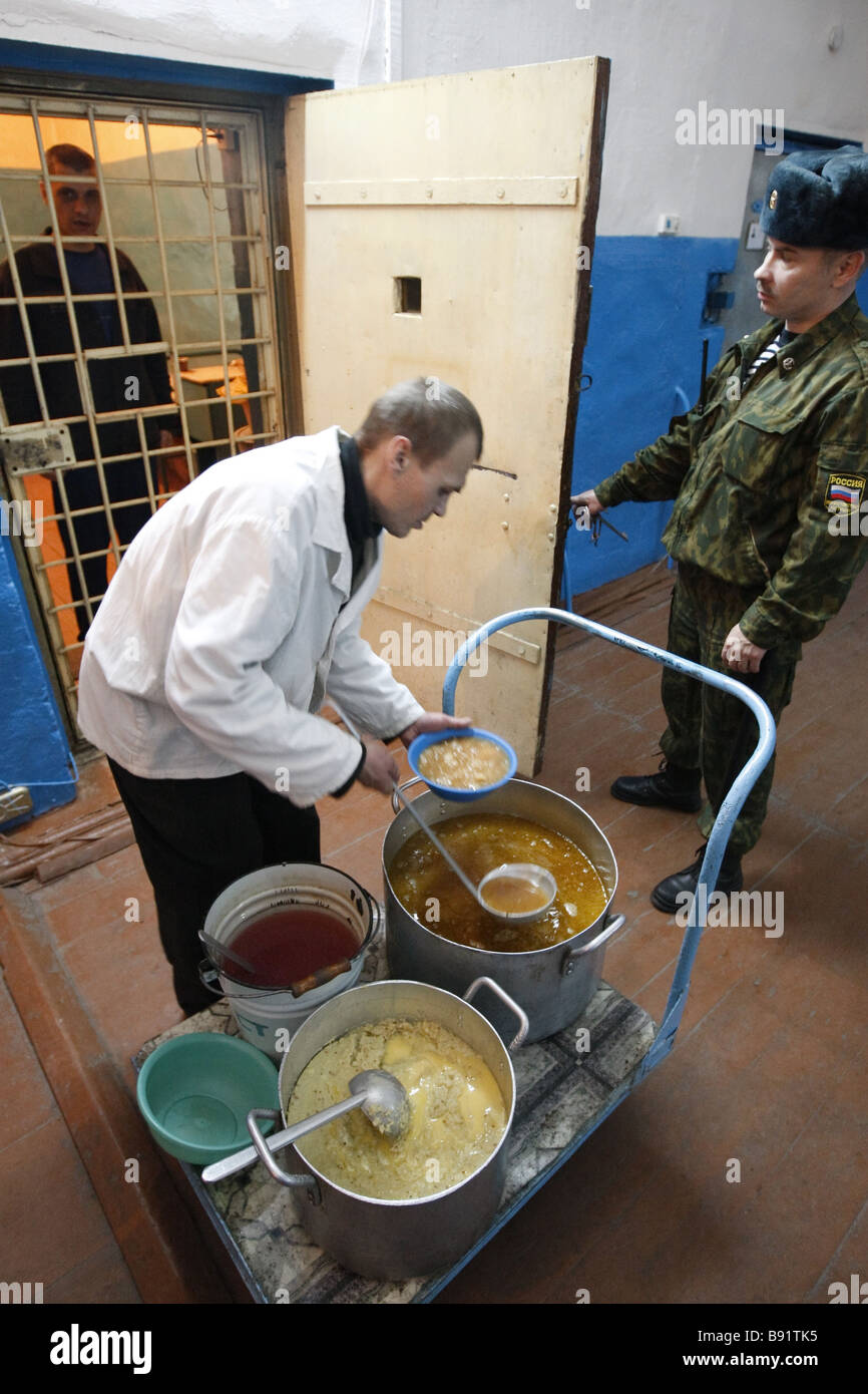 Inmates get food at penitentiary No 5 for convicts serving life terms on Ognenny Fiery Island in the Vologda Region - Stock Image