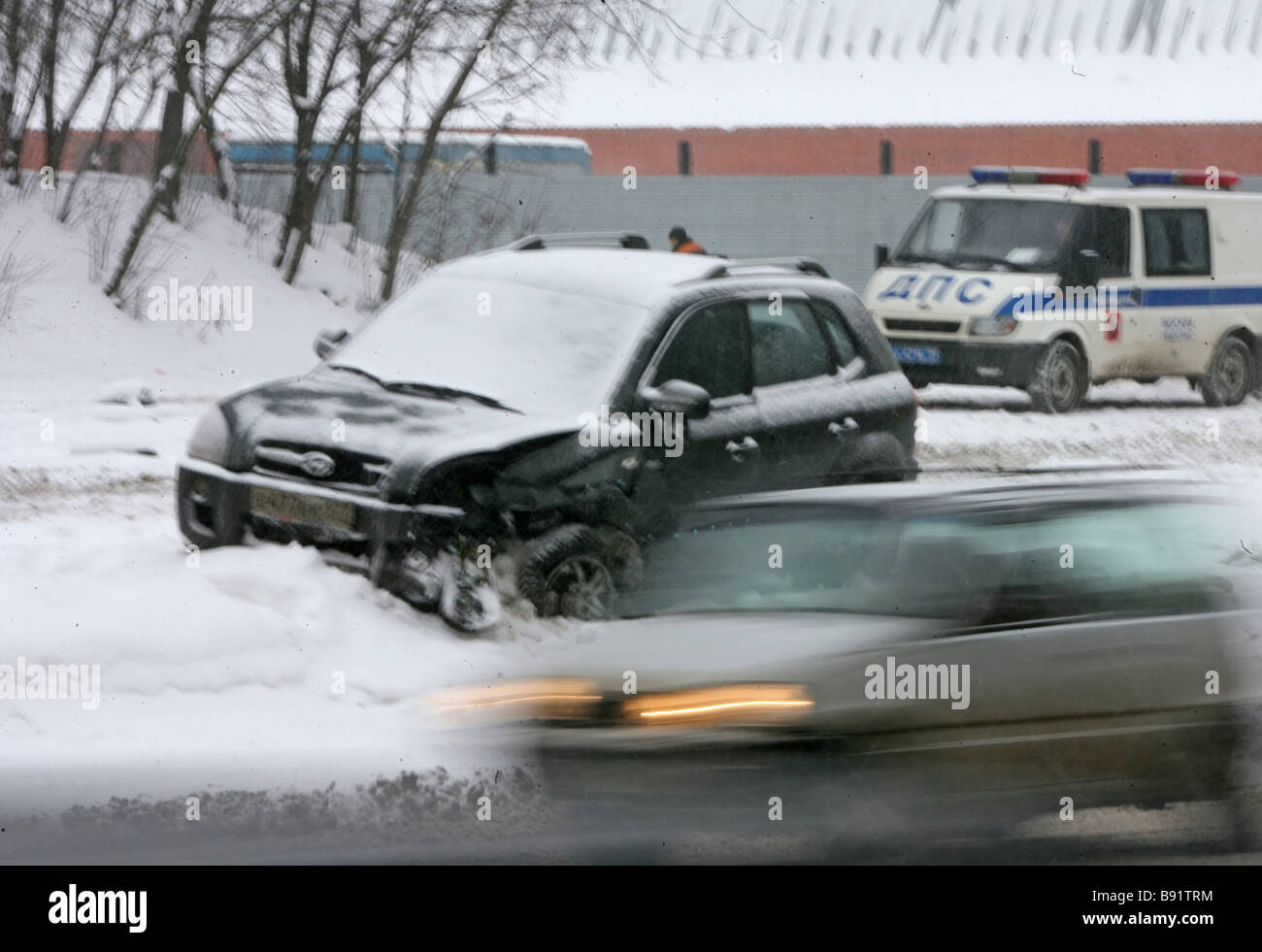 Stranded traffic after blizzard in Moscow - Stock Image