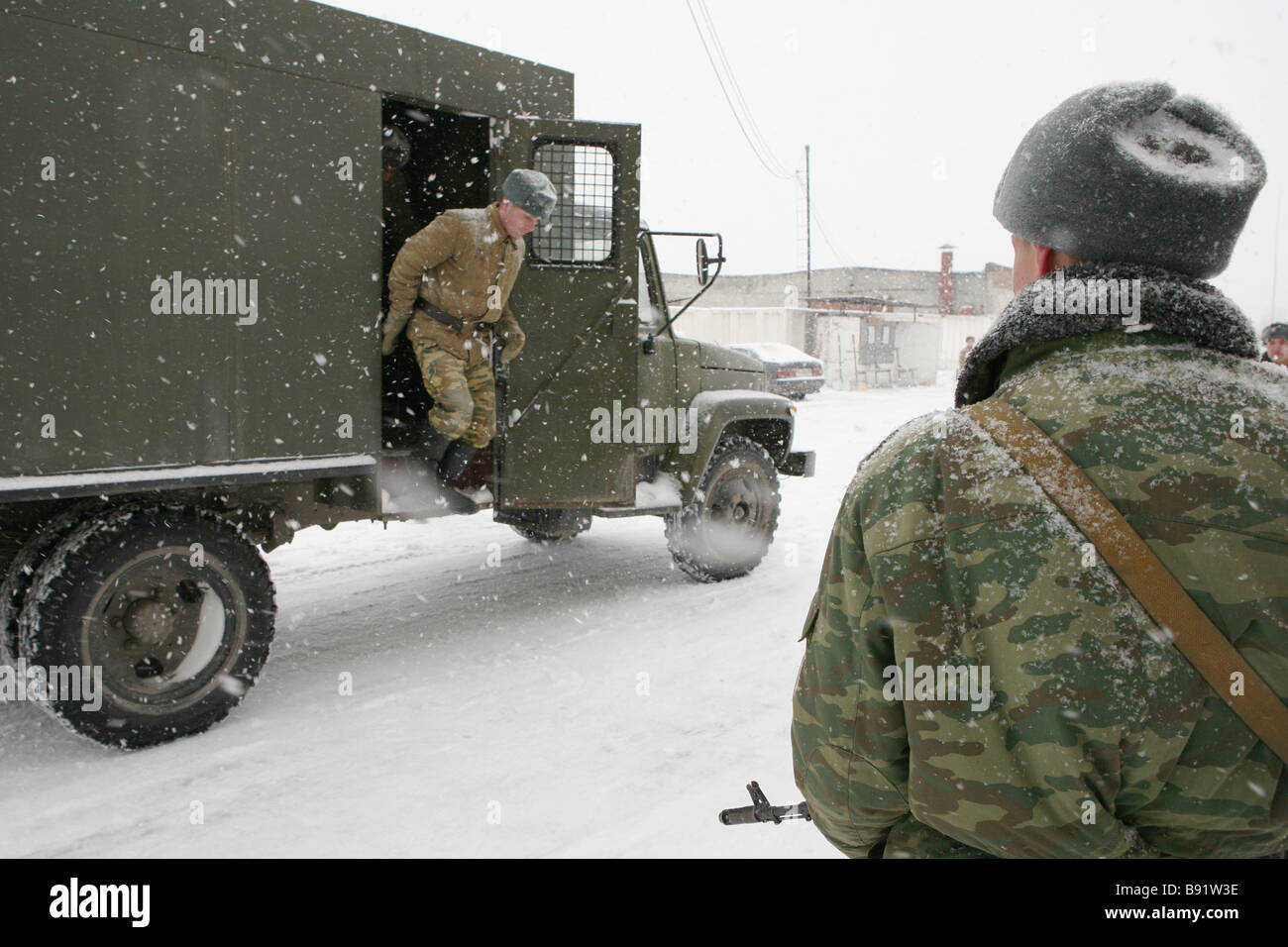 Convicts being delivered to the Independent Military Correctional Battalion of the Siberian Military District where - Stock Image
