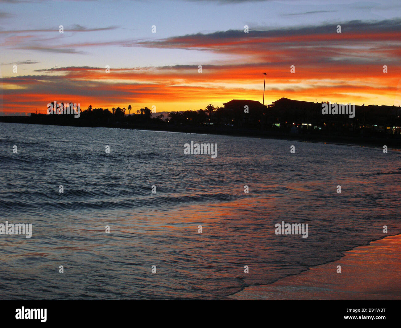 A glorious sunset in Tenerife - Stock Image