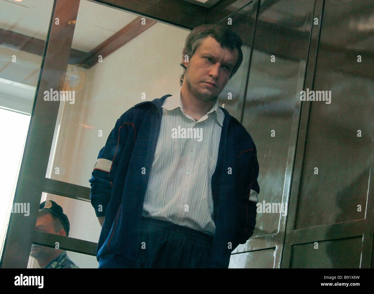 Defendant Alexander Pichushkin before a court hearing in the Moscow city court Known as The Maniac of Bitsa he is - Stock Image