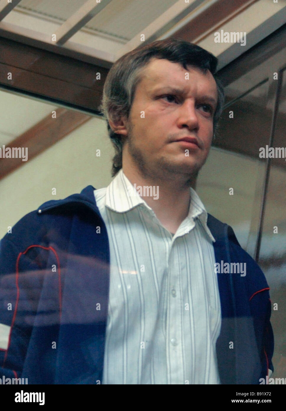 A defendant Alexander Pichushkin before a court hearing in the Moscow city court Known as The Maniac of Bitsa he - Stock Image