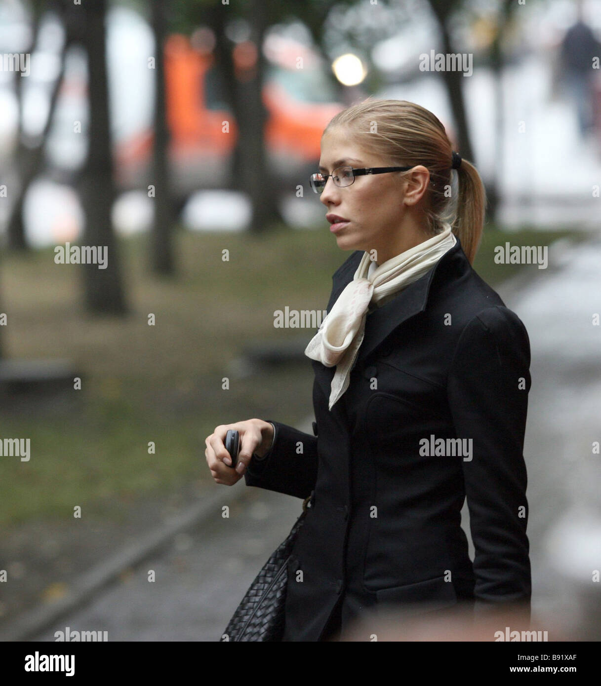 Playboy photo model 21 years old Yelena Perminova near the Central district court in Novosibirsk after the court - Stock Image