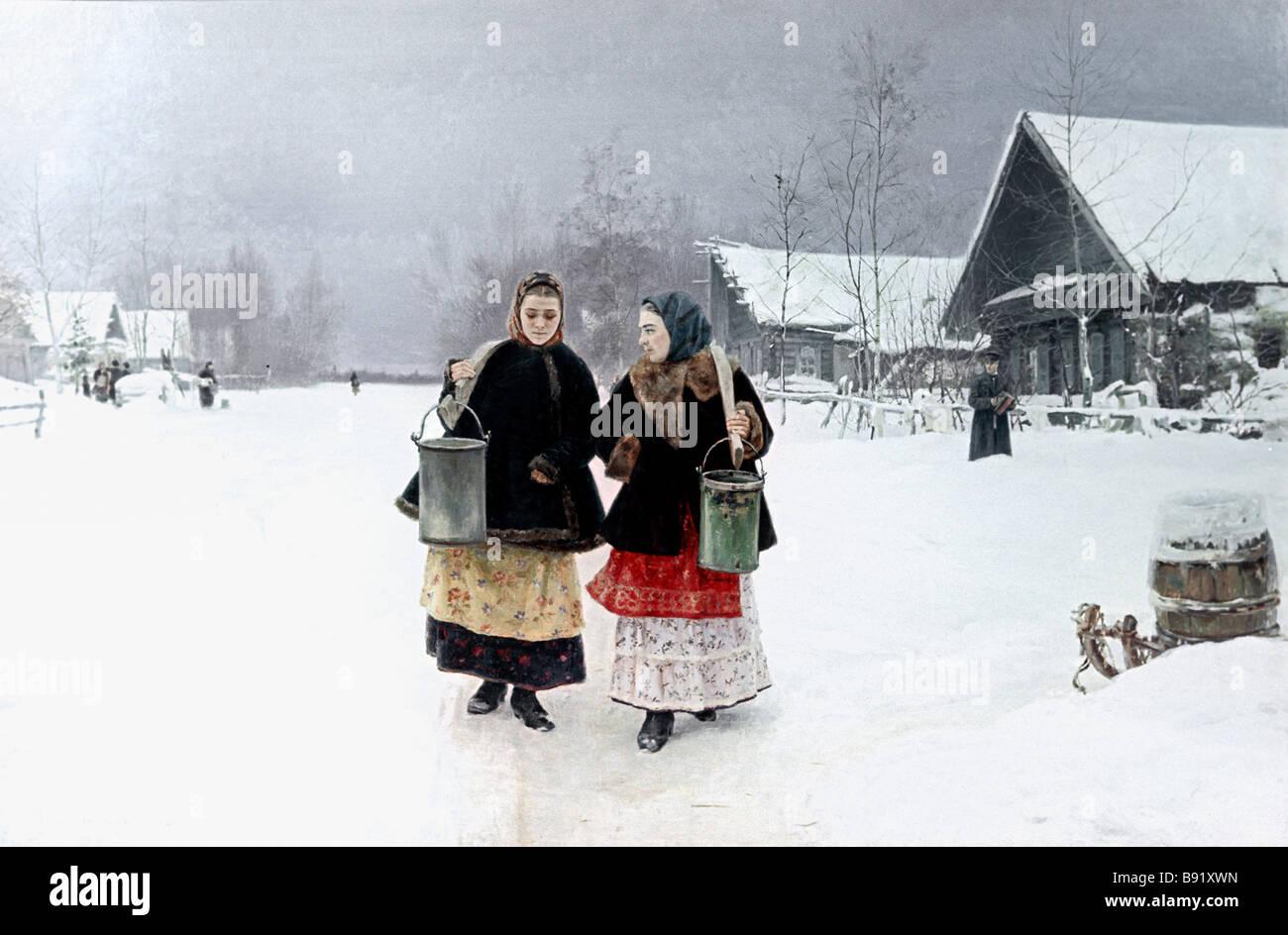 Artist Nikolai Kasatkin 1859 1930 Rivals oil Tretyakov Gallery - Stock Image