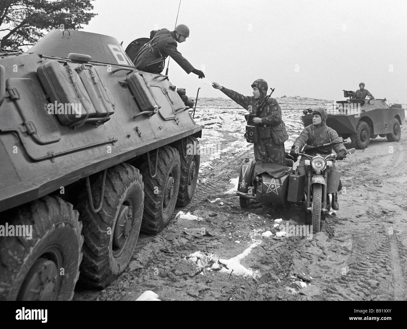 Soviet troops in training East Germany - Stock Image