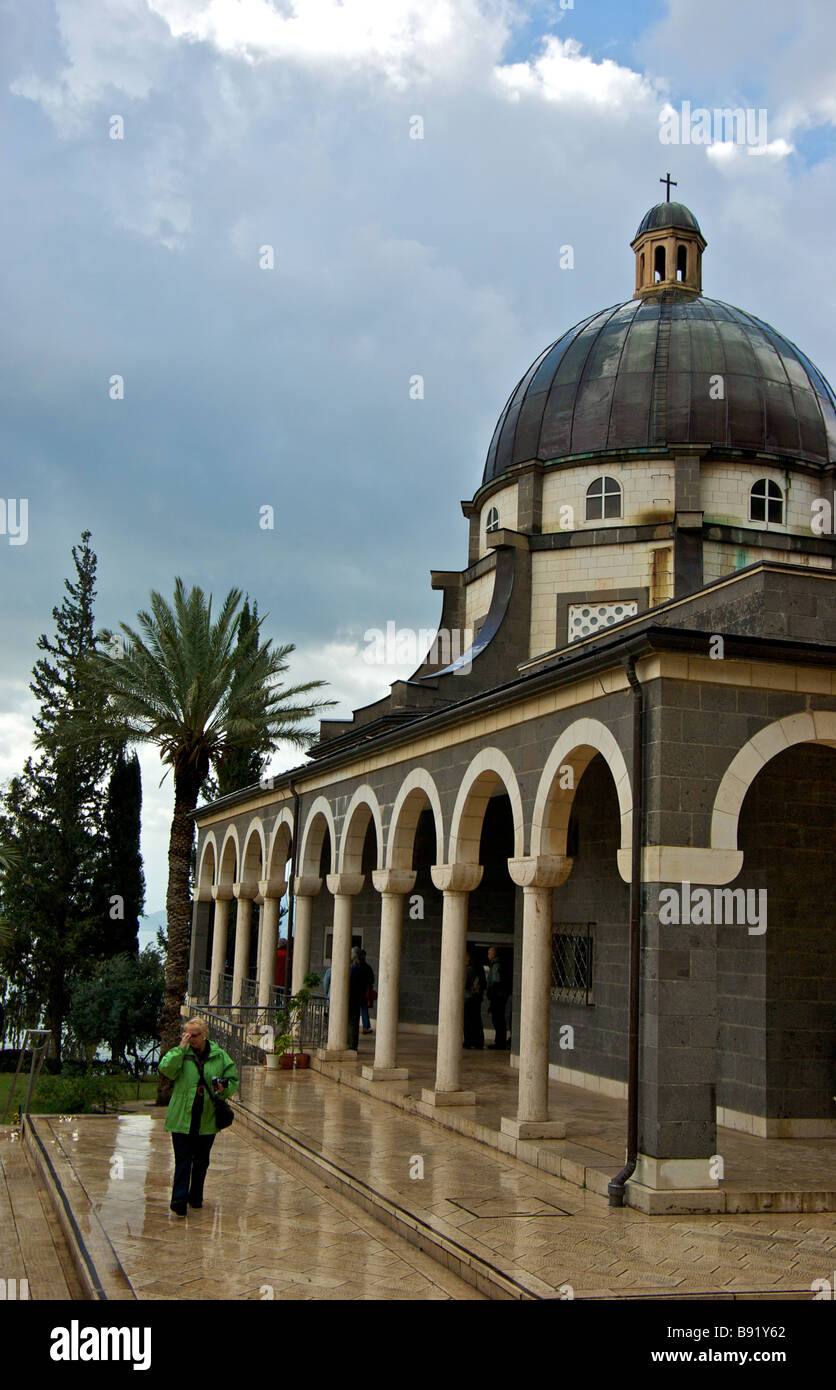Roman Catholic Franciscan chapel atop Mount of the Beatitudes traditional location of Jesus Christ Sermon on the Stock Photo