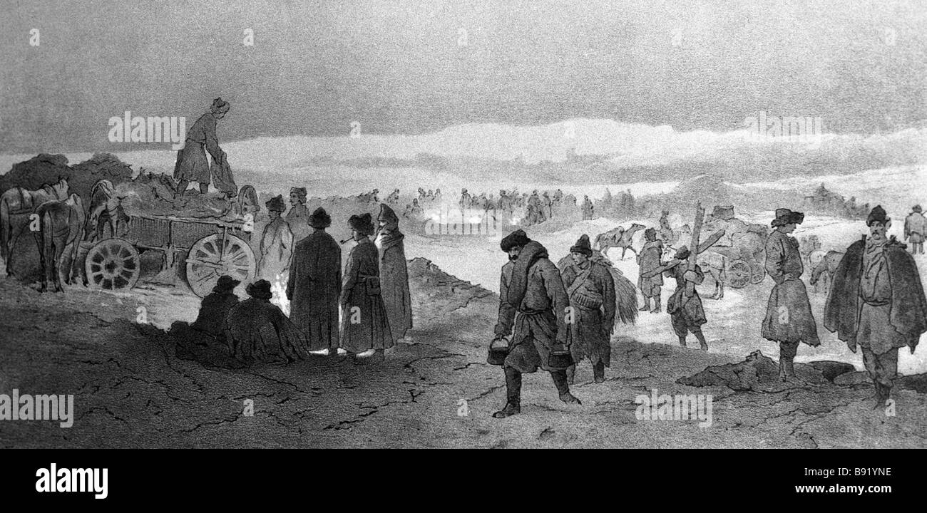A reproduction of the tinted lithograph A Winter Expedition to Chechnya in the Caucasus during the 1840 1850 Caucasian - Stock Image