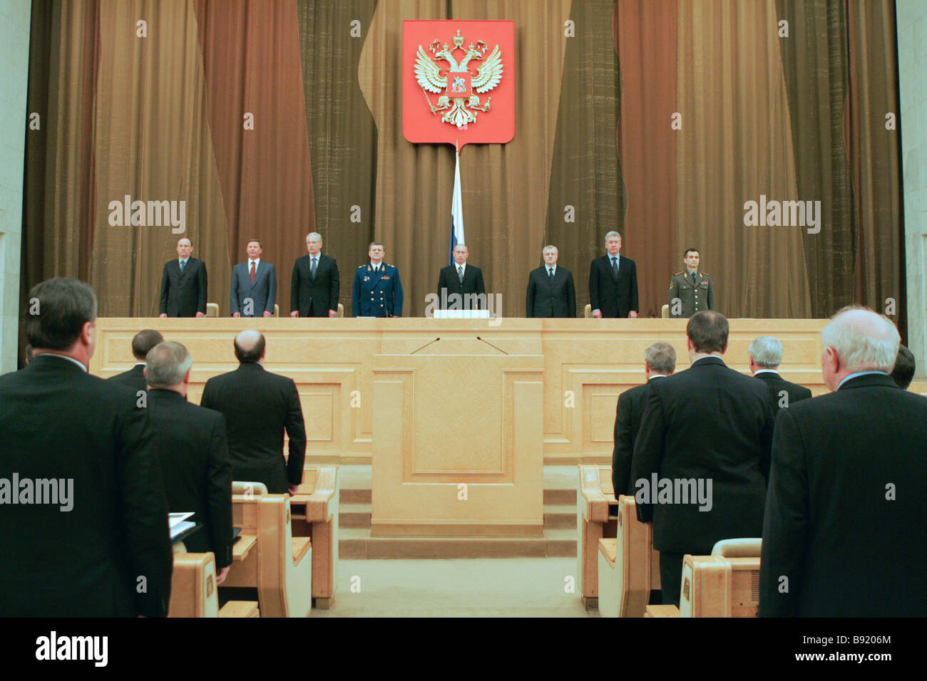 President Vladimir Putin center at a coordinating conference with the heads of law enforcement agencies - Stock Image
