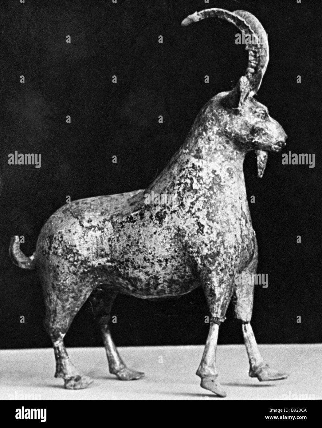 A silver goat statuette 2 3 century BC found during the digs in the ancient Armenian capital of Artashat - Stock Image
