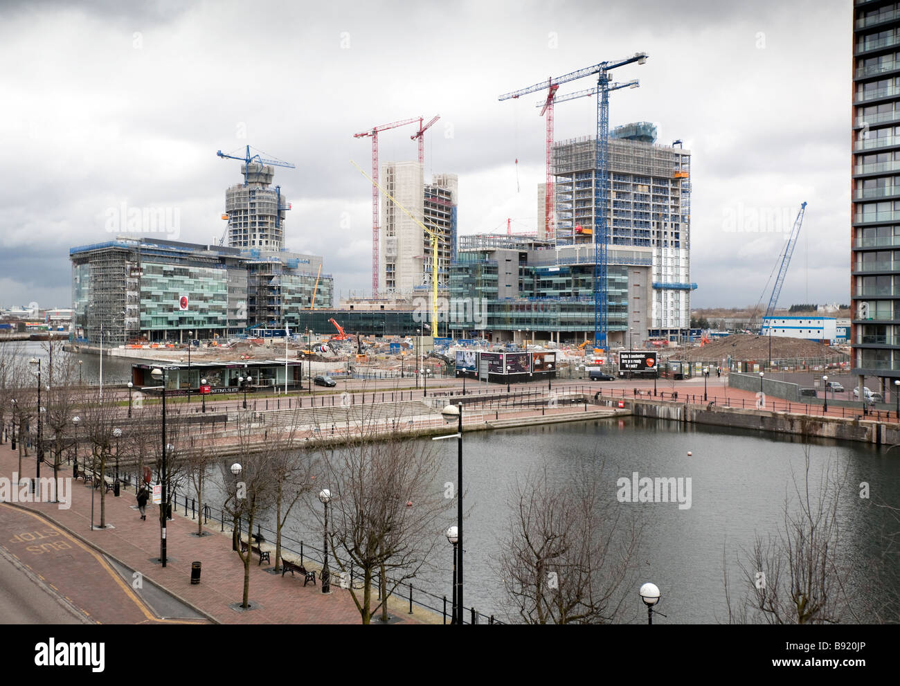A view of the partially built BBC Manchester headquarters at Salford Quay in Greater Manchester - Stock Image