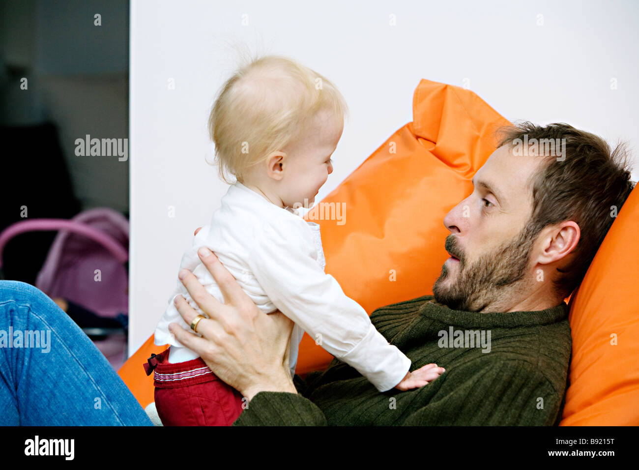 A father with his child Sweden. - Stock Image