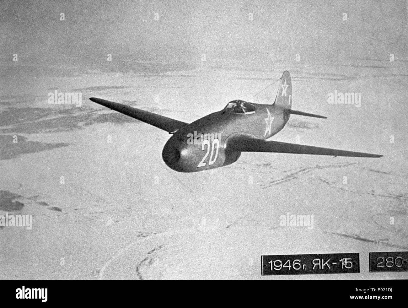 A reproduction of a photo of the Yak 15 fighter jet from the Monino Aviation Museum of the USSR Air Force - Stock Image