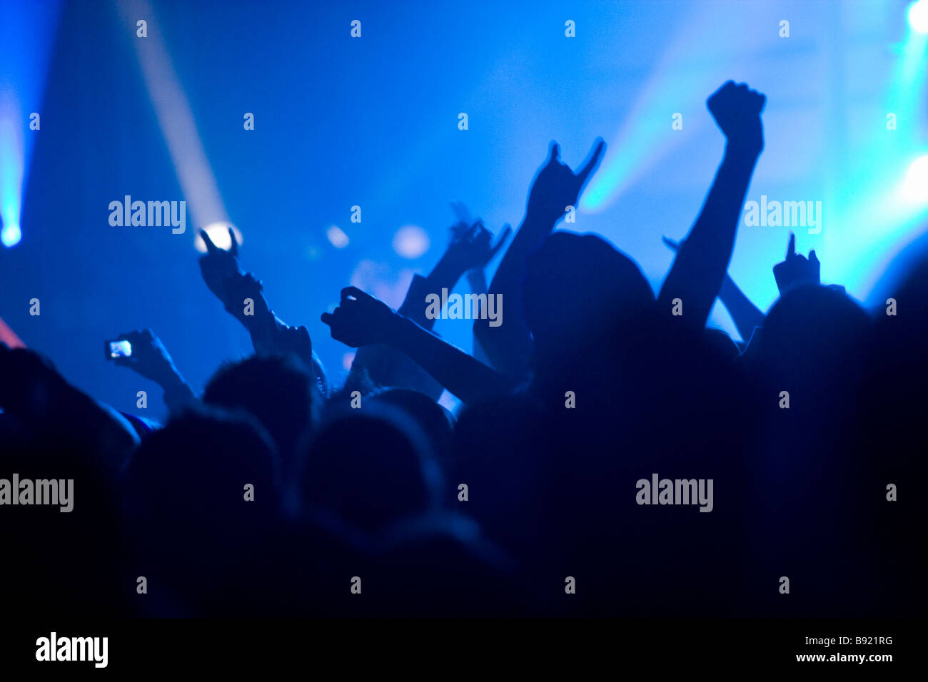 Audience under a music concert. - Stock Image