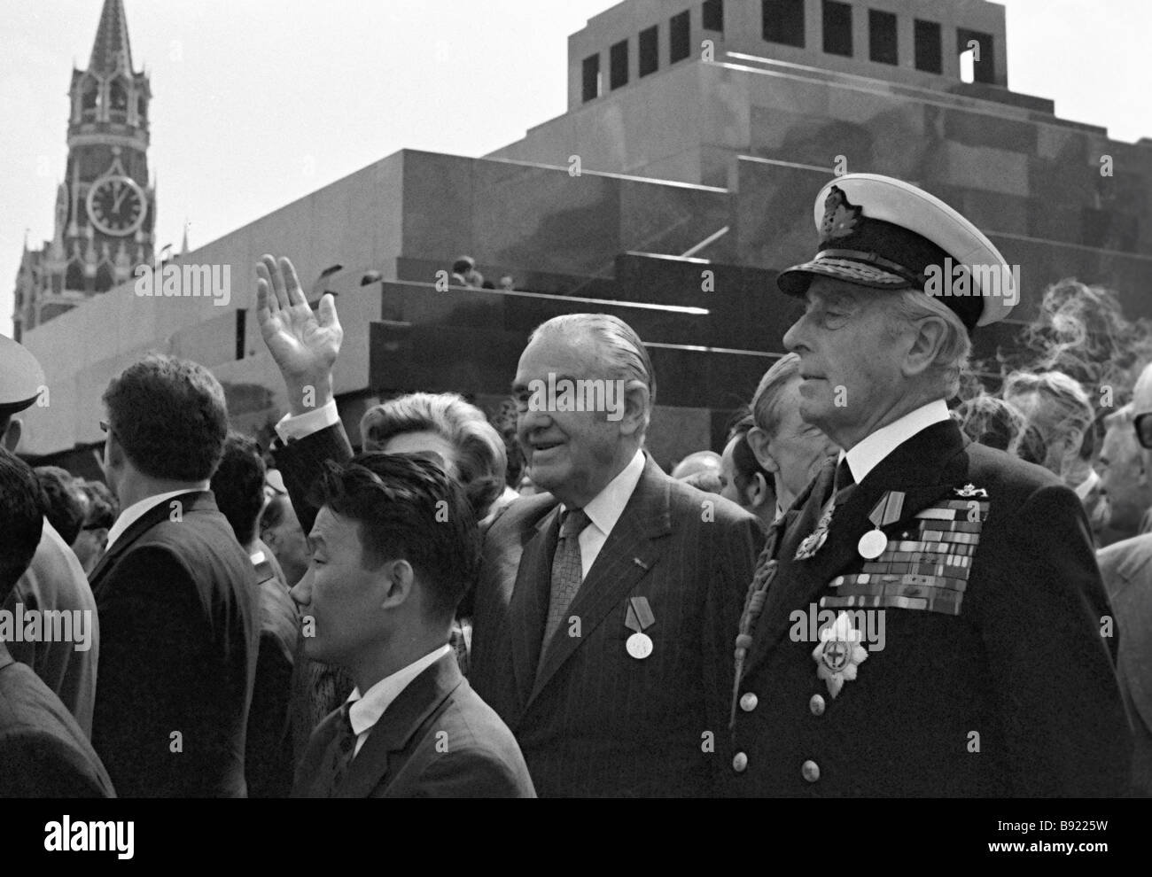 Heads of delegations of the Allies Lord Louis Mountbatten of the U K left and Averell Harriman of the U S in Red - Stock Image