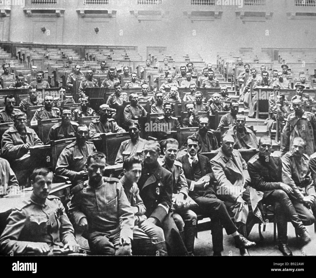 Soldiers representatives from armies and front units meeting at the Tauride Palace in May 1917 - Stock Image