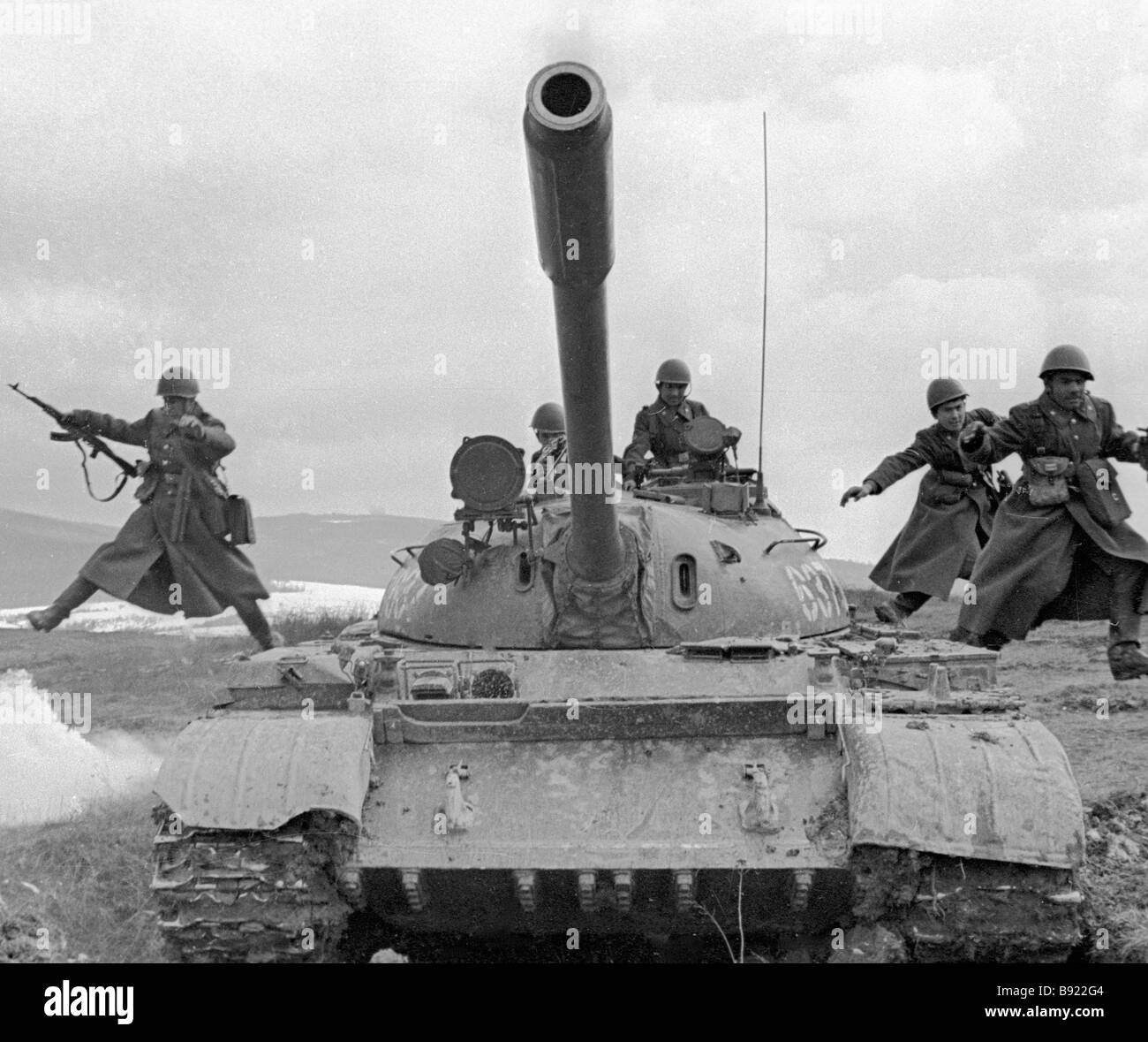 Landed tanks are assaulting at the manoeuvre - Stock Image