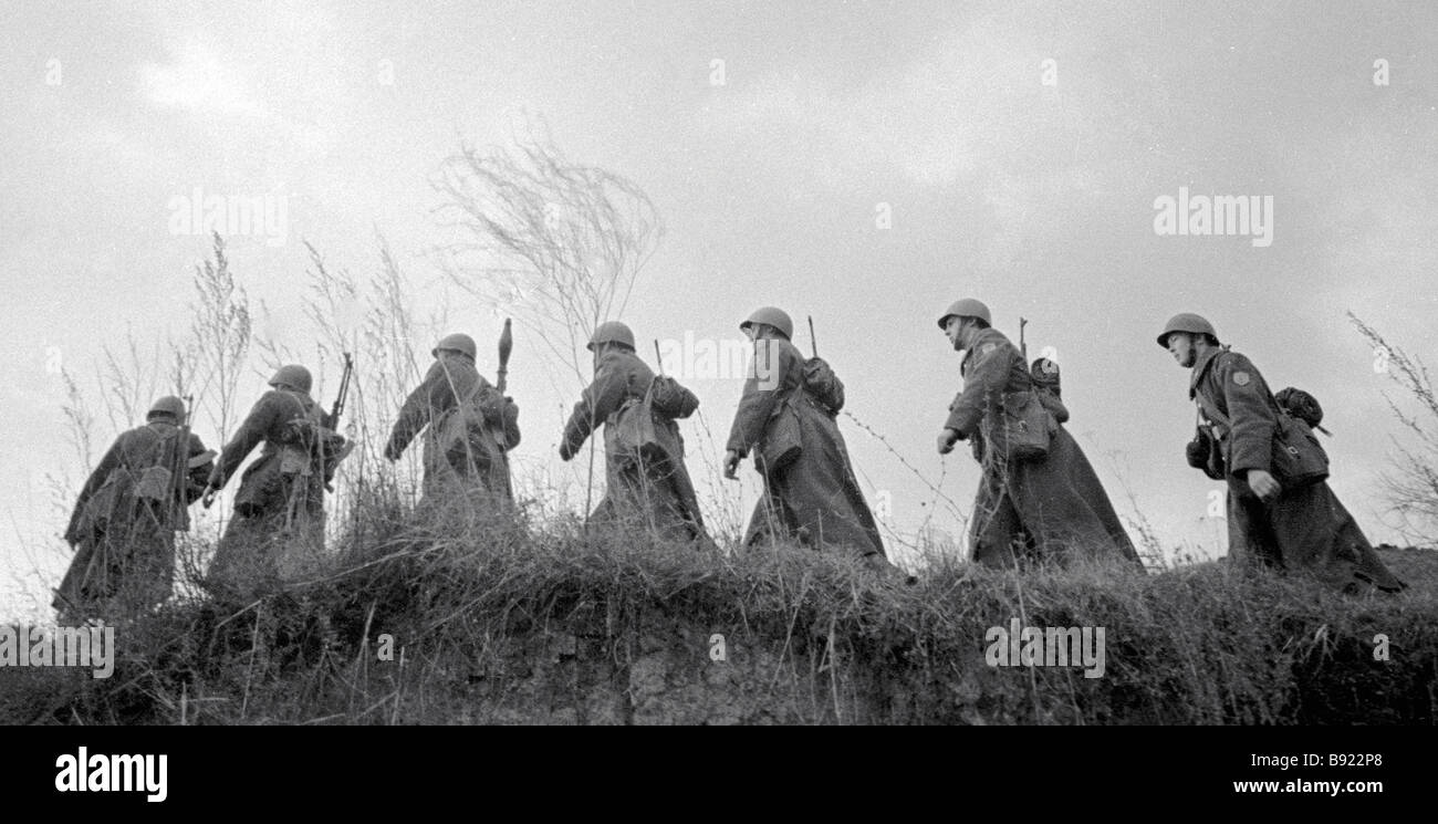 Soviet reconnaissance officers exercising - Stock Image