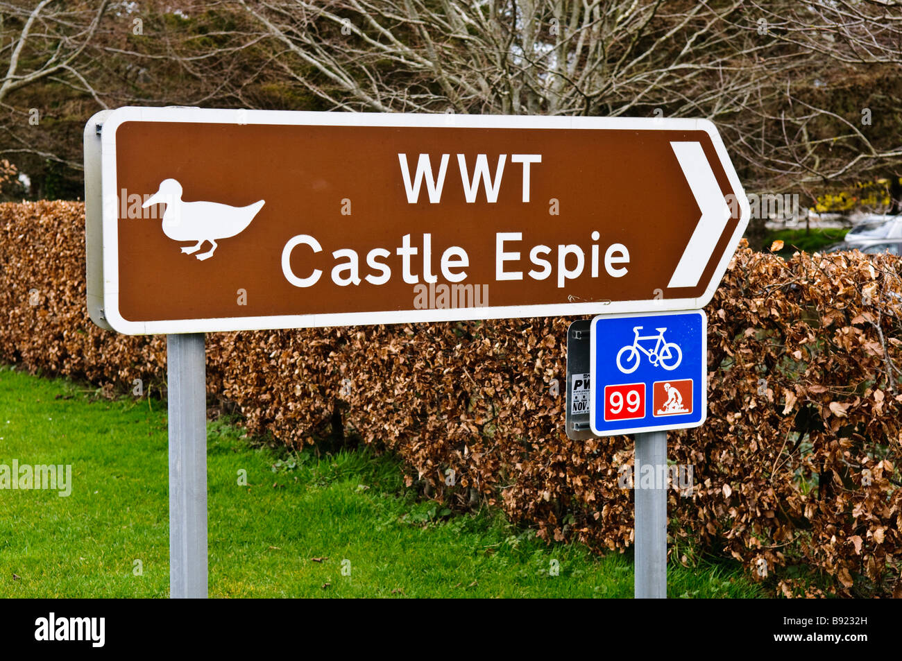 Sign at front entrance to Castle Espie, Wildfowl and Wetlands Trust (WWT), Comber, Northern Ireland - Stock Image