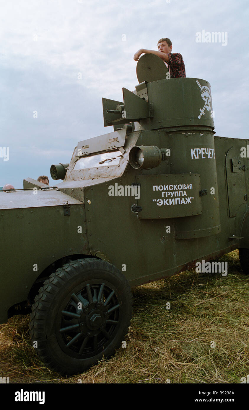 WWI armoured vehicle at the international auto show - Stock Image