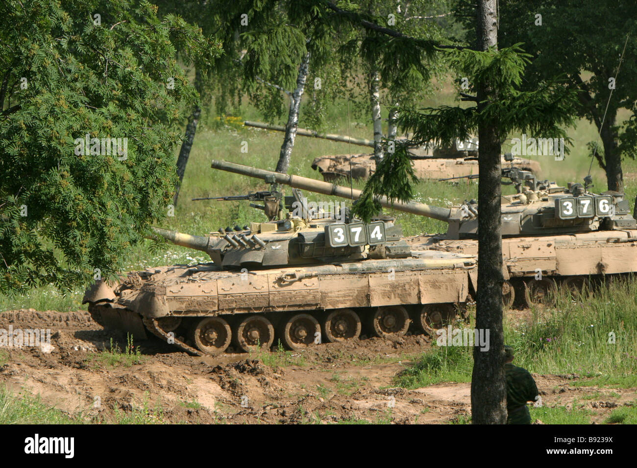 An armor division advancing during the command post exercise Soyuznaya Bezopasnost Union Security - Stock Image