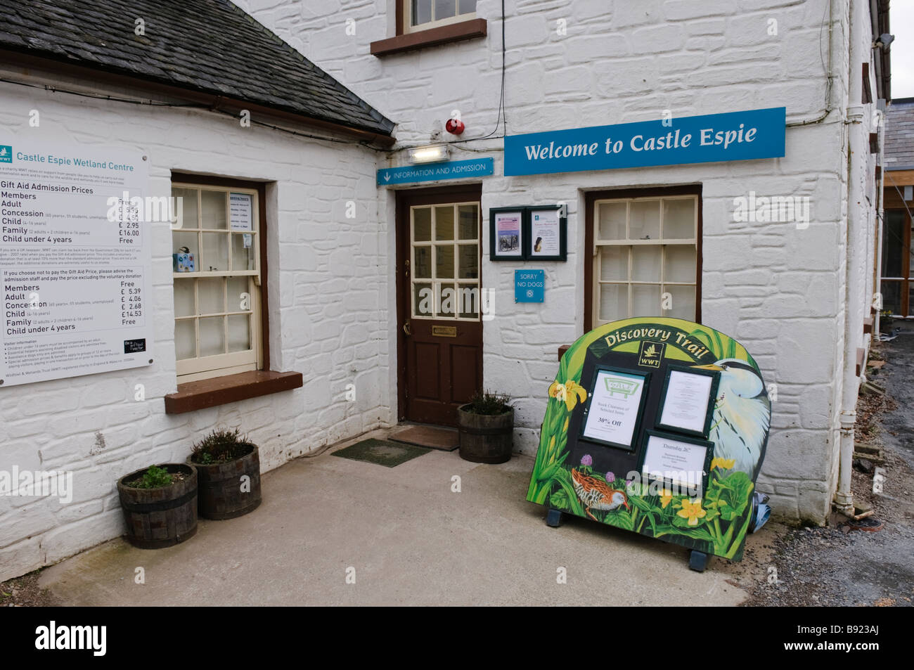 Front entrance to Castle Espie, Wildfowl and Wetlands Trust (WWT), Comber, Northern Ireland - Stock Image