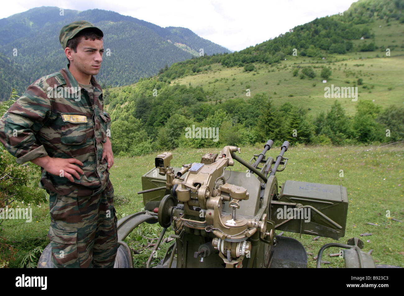 South Ossetian a self proclaimed republic in Western Georgia Armed forces and volunteers Jawa region Stock Photo