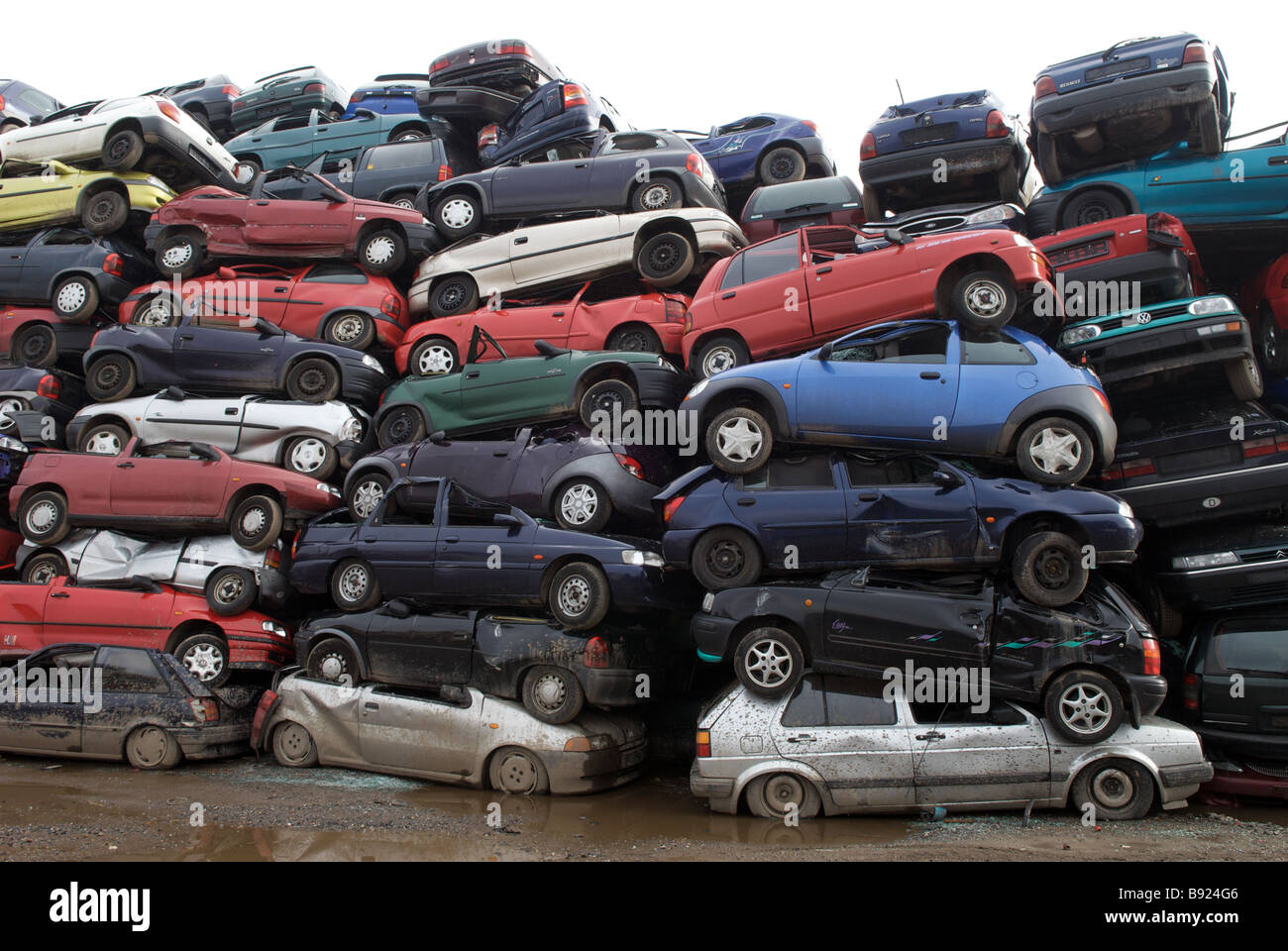 Scrap cars at a recycling centre, Opladen near Leverkusen, North ...