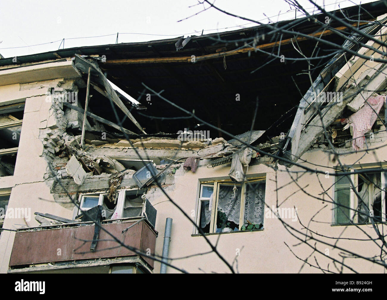 Six people were killed in an explosion in an apartment building Zheleznovodsk Stavropol Region Stock Photo