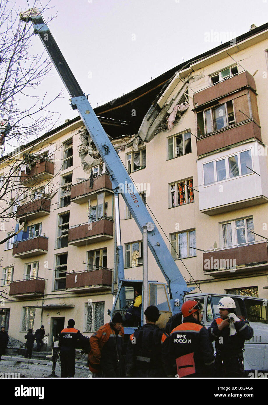 Six people were killed in an explosion in an apartment building in Zheleznovodsk Stavropol Region - Stock Image