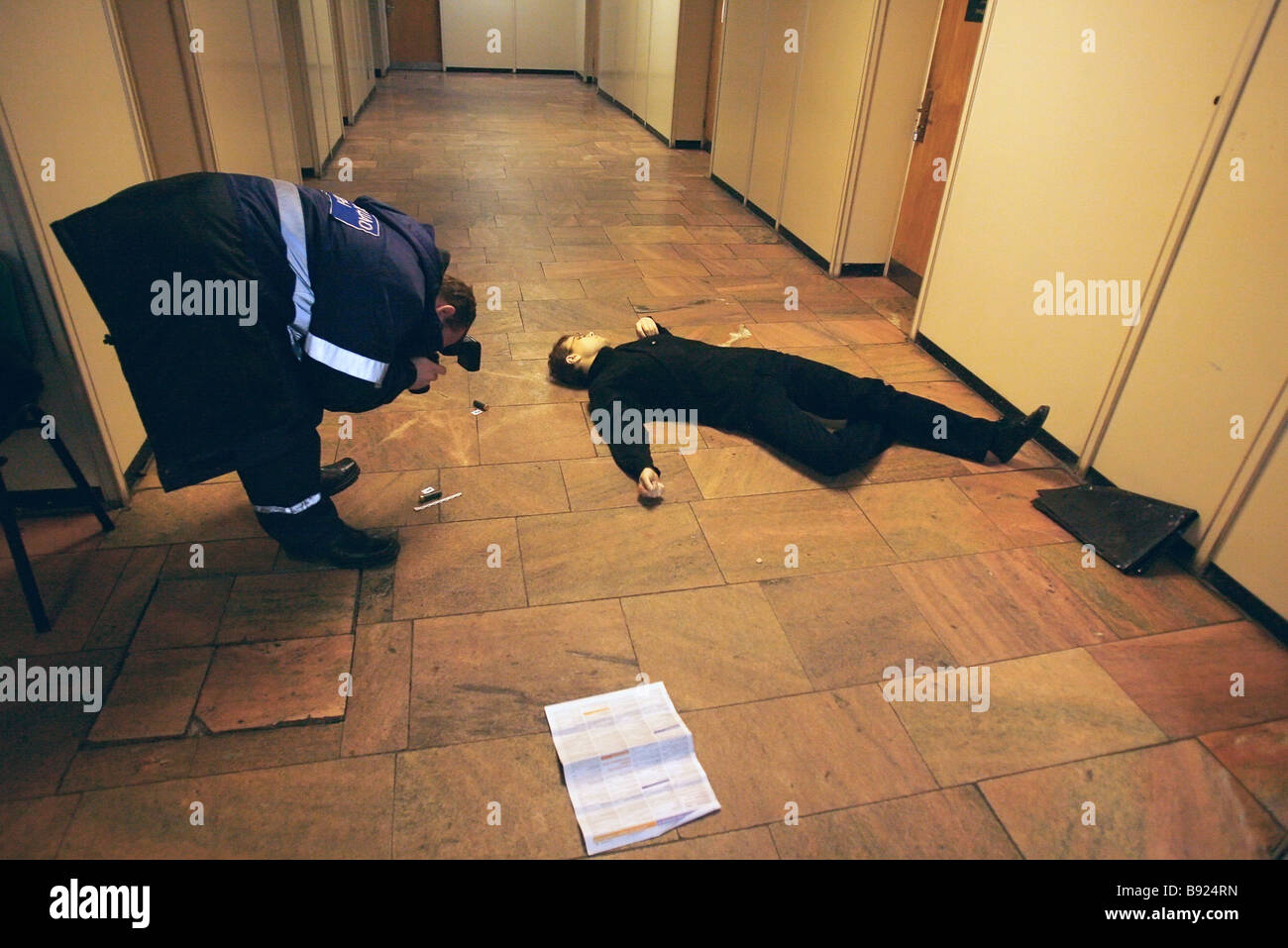 An unidentified person committed suicide on the first floor of the industrial feedstock importer Promsyryeimport - Stock Image