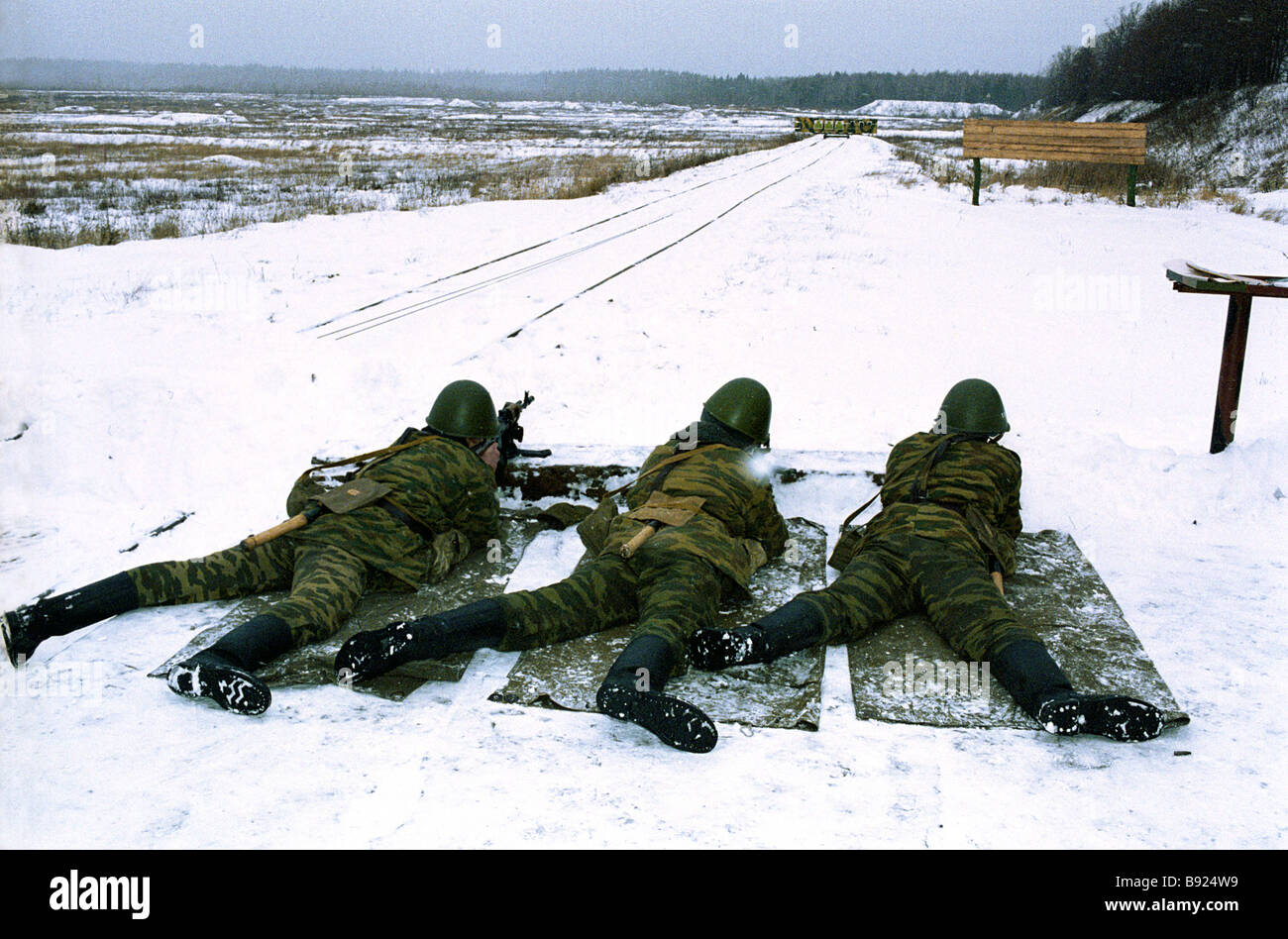 Soldiers of the Taman Motorized Rifle Division shoot live ammunition - Stock Image