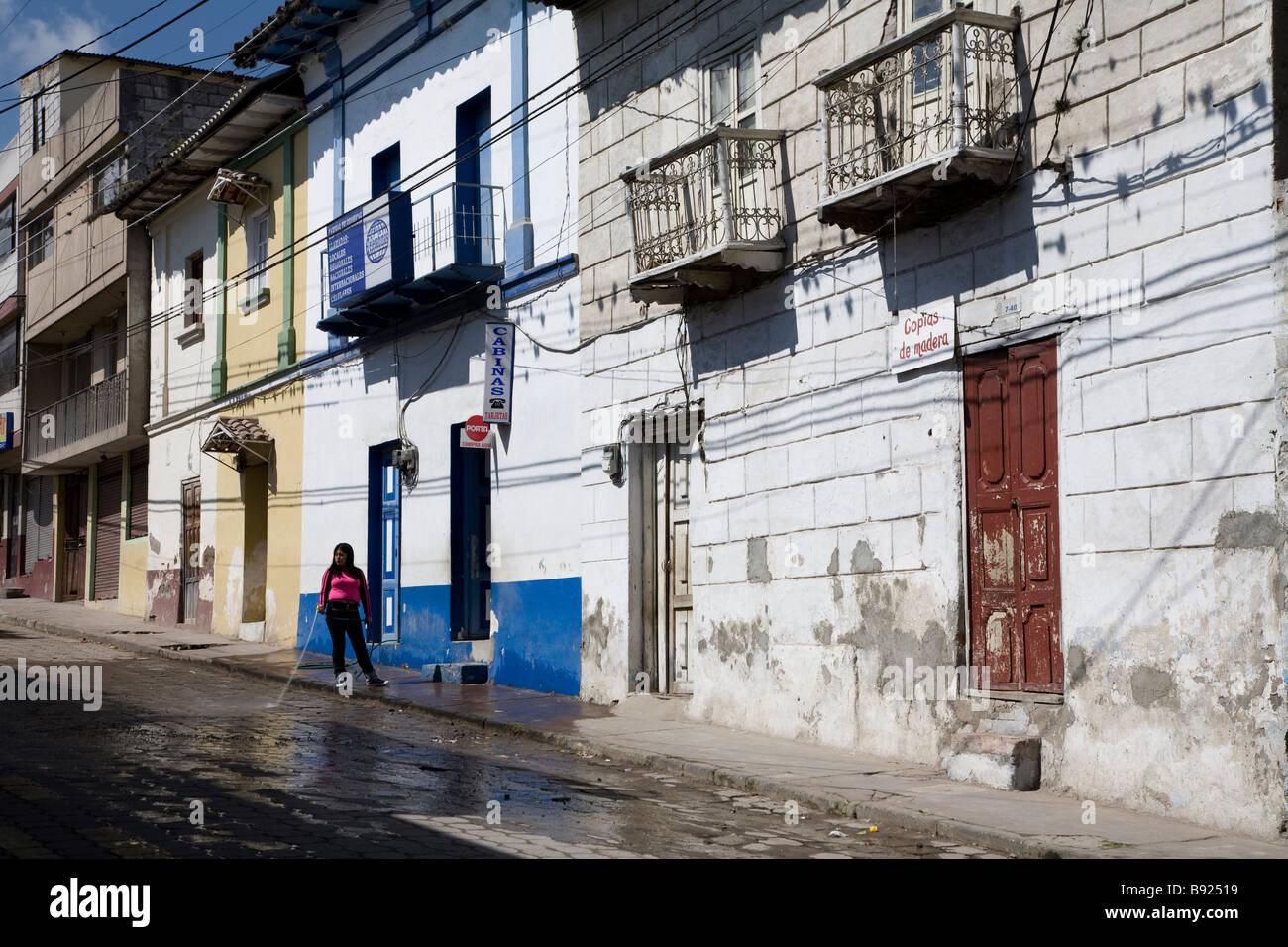 Street scene, San Antonio de Ibarra, Otavalo Province, Ecuador - Stock Image