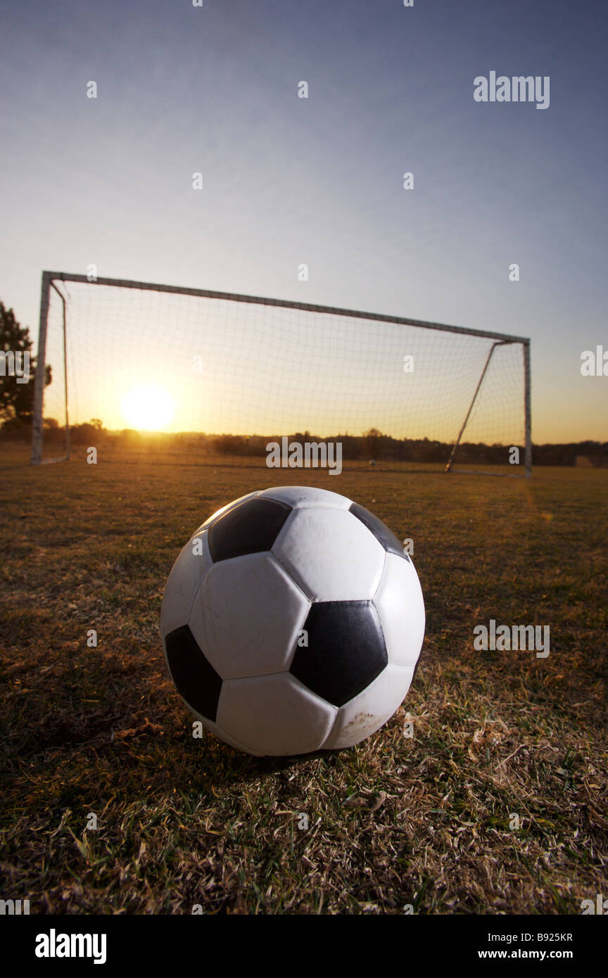Soccer ball in front of goal posts Pretoria Gauteng Province South Africa - Stock Image