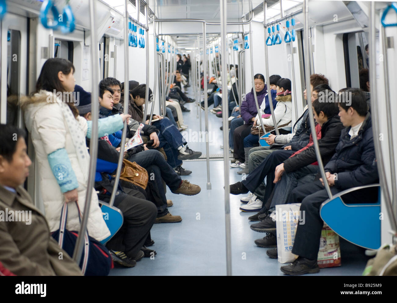 Interior of new subway carriage on Beijing metro in China - Stock Image
