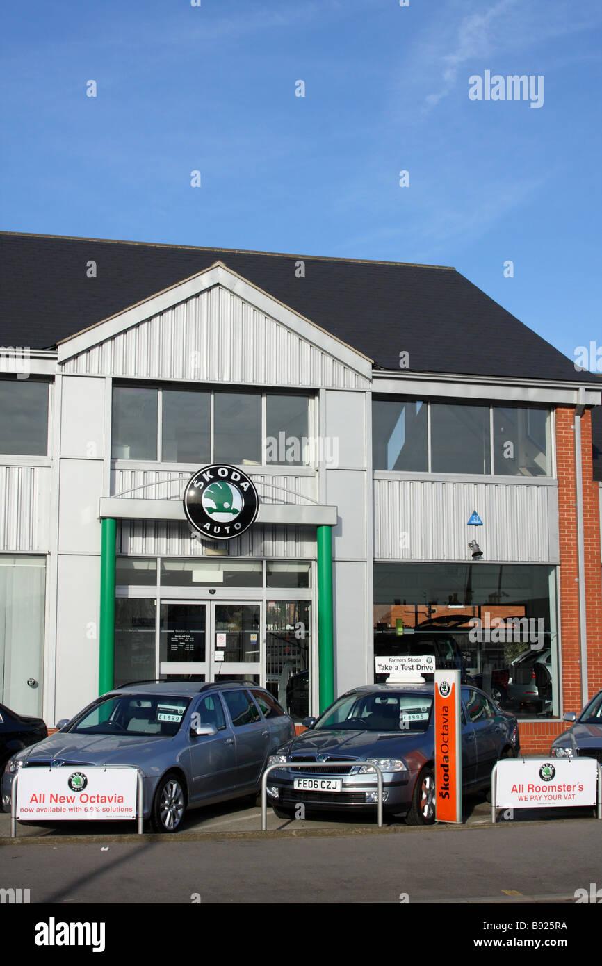 A Skoda dealership in a U.K. city. - Stock Image