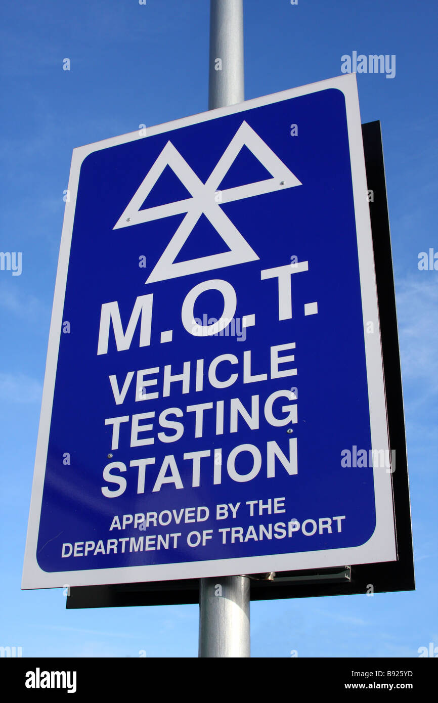 Ministry of Transport (MOT) Vehicle Testing Station in the U.K. - Stock Image