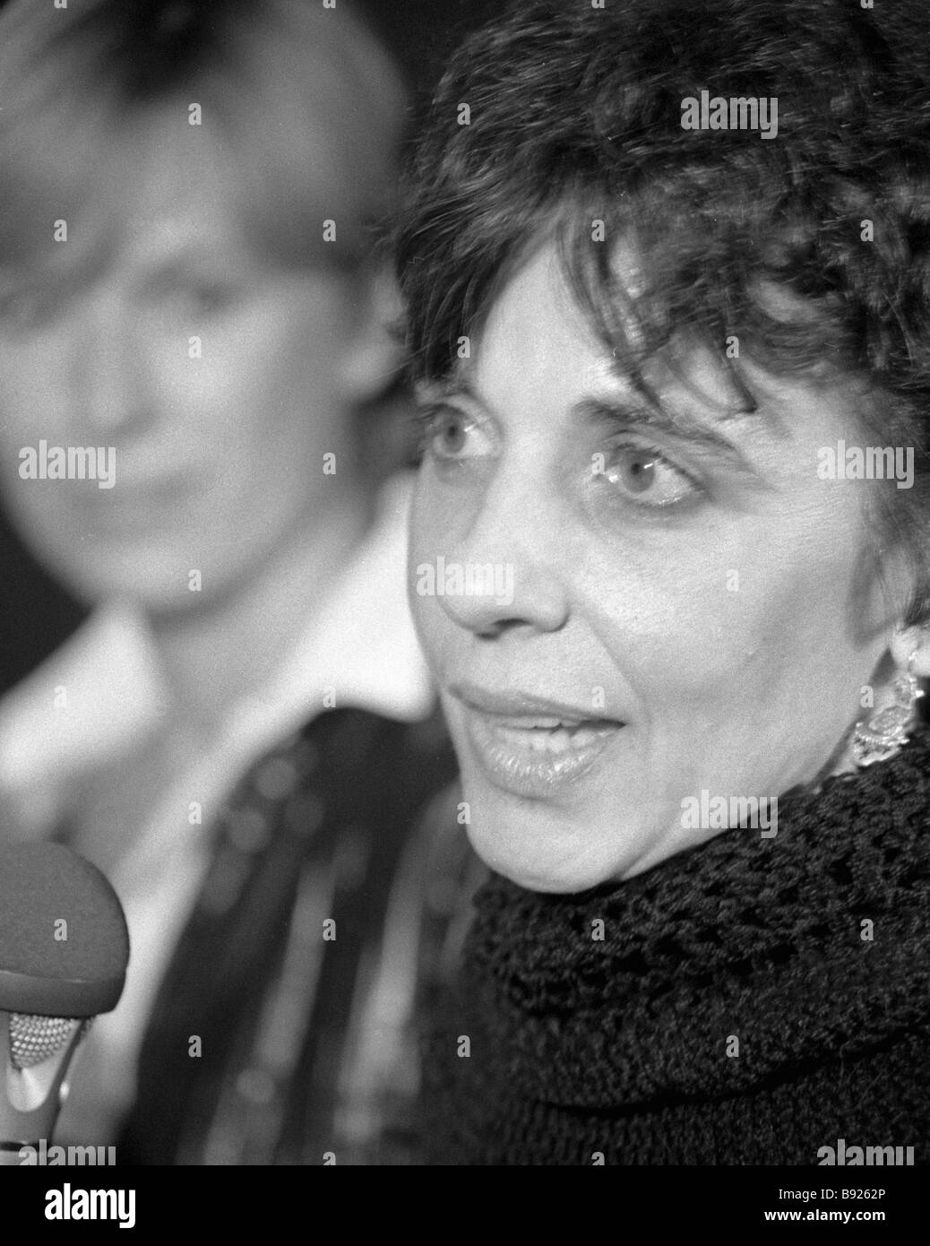 American actress Laurence Falk right at the Peace to Our Planet function in the Art Workers Center in Moscow - Stock Image