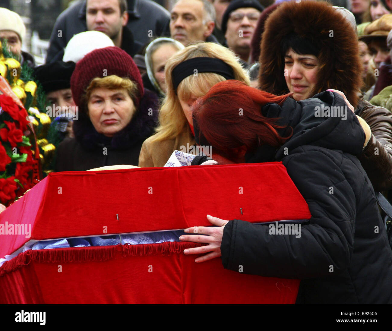 The first funerals of miners who died in an explosion at the Zasyadko mine in the Donetsk region of Ukraine - Stock Image