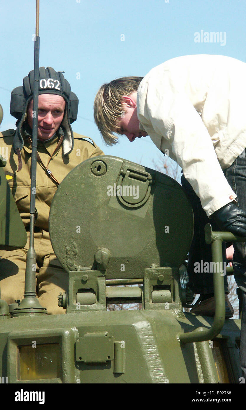 Future draftees taking part in Draft Day events staged at the 27th Guard s motorized rifle brigade of the Moscow - Stock Image