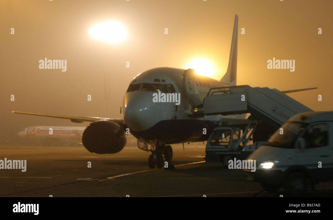 Dozens of flights were delayed because of fog at Domodedovo Airport - Stock Image