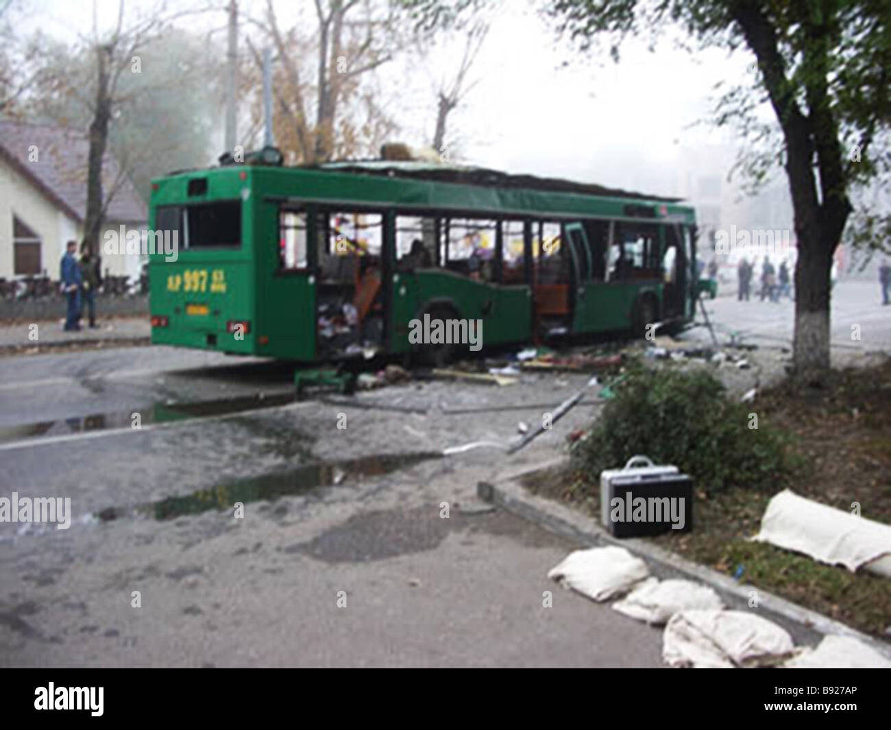 Eight people including one child were killed when a bus exploded in downtown Togliatti a city on the Volga River Stock Photo