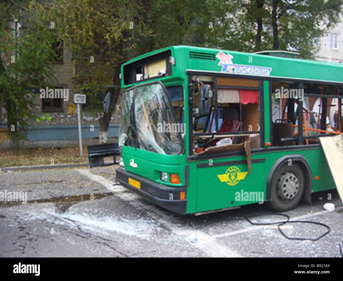 Eight people including one child were killed when a bus exploded in Togliatti Stock Photo