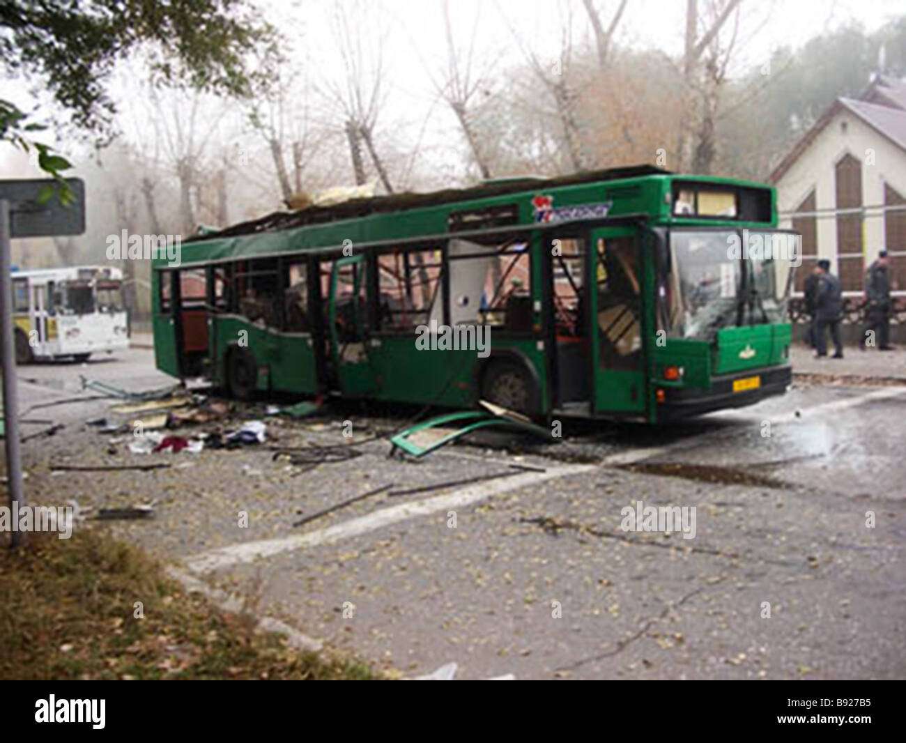Eight people including one child were killed when a bus exploded in downtown Togliatti - Stock Image