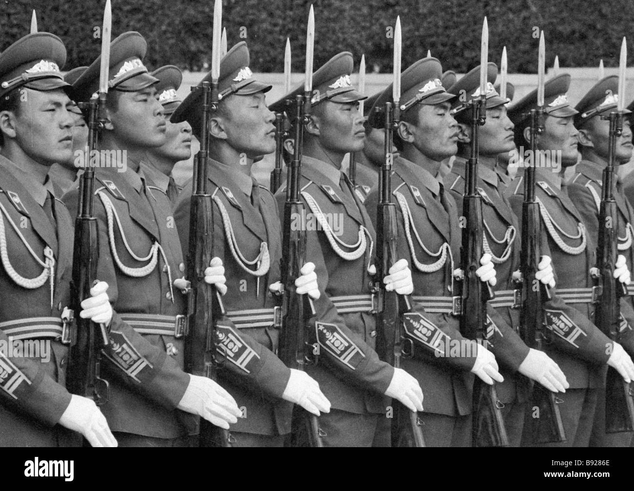 Guard of honor in Mongolia - Stock Image
