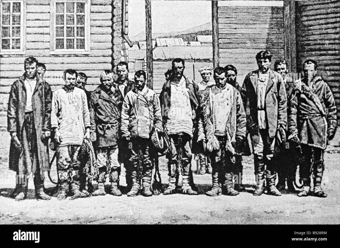 Political prisoners exiled by the tsarist government to Siberia Stock Photo