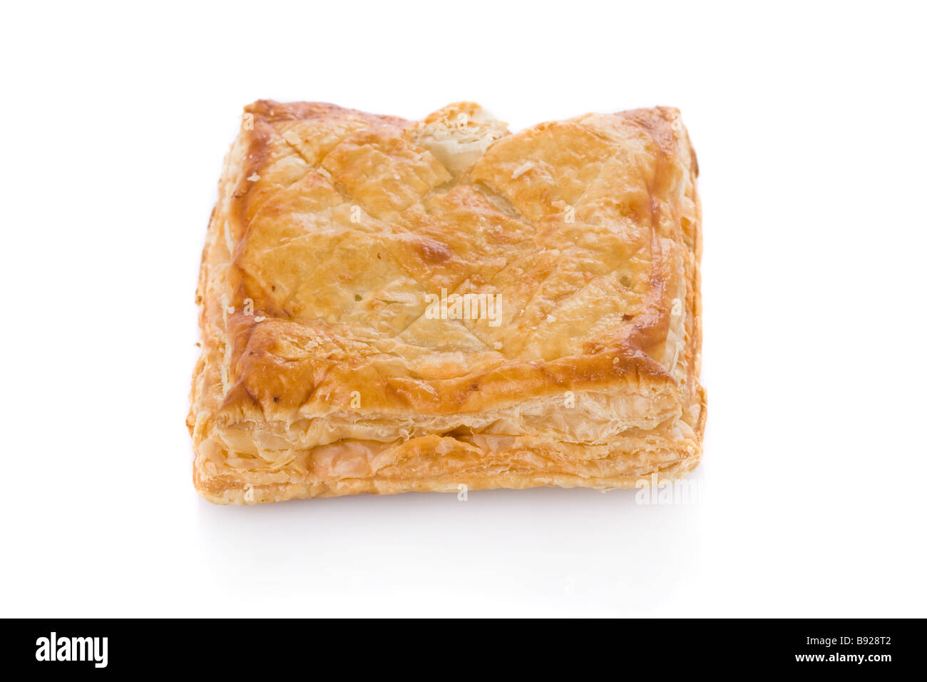 Puff pastry (sweet or salted)  isolated on white background - Stock Image