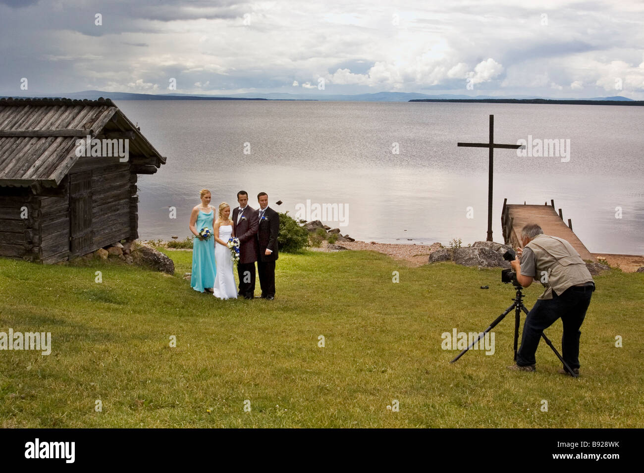 Marriage photography in Dalarna north of Sweden - Stock Image