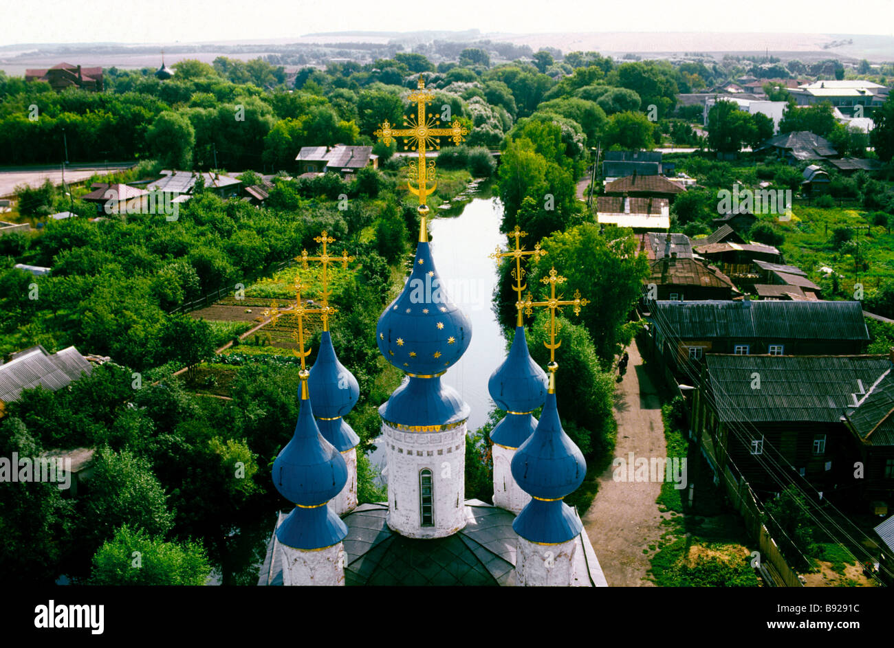 The cupolas of the Archangel Michael Cathedral in Yuriev Polsky near Vladimir Central Russia - Stock Image